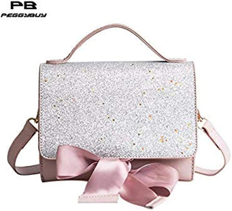 91dee34d3a Bloomerang Female PU Leather Messenger Bling Sequins Crossbody Bags ...
