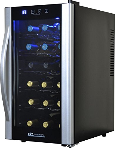 Avalon Bay AB-WINE18S Wine Fridge, 18 Bottle, Black/Silver
