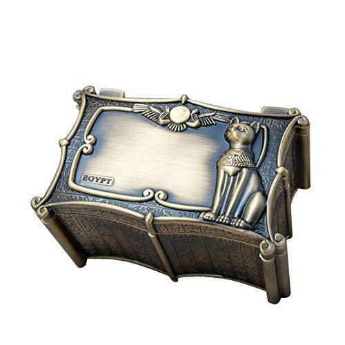 Hfior - Portagioie in metallo, stile vintage, motivo: gatto Bastet Egitto, per anelli, orecchini, collane, regalo per ragazze madri e donne