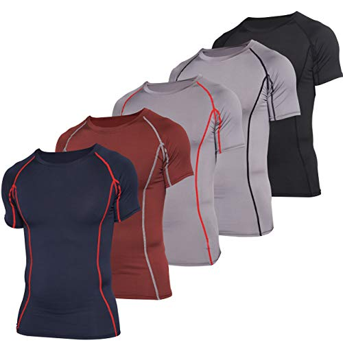 5 Pack: 5 Pack: Mens Short Sleeve Compression Shirt Base Layer Thermal Slimming Undershirt Activewear Training Athletic Crew T-Shirt Quick Dry Fit Workout Fitness Gym Running Top,Set 3,M