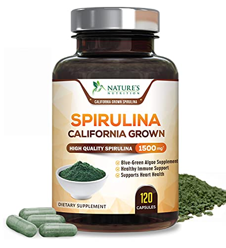 Spirulina Capsules 1500mg, Extra Strength Spirulina Blue-Green Micro-Algae Powder Supplement, Nutrient Dense Plant with Natural Antioxidants, Fatty Acids, Vitamins, Minerals - Non-GMO - 120 Capsules