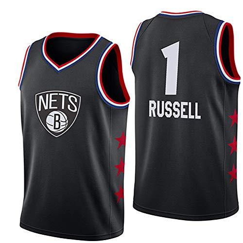 GLACX Ropa de Baloncesto de los Hombres (Estilo 2) Brooklyn Nets 1# Russell New Bordada de Moda sin Mangas CAM T-Shirt Unisex,A,S