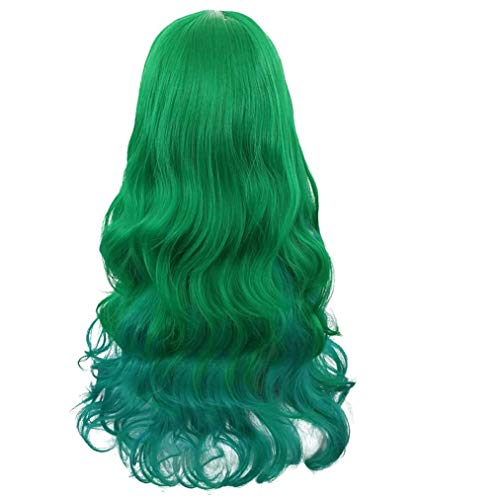 Rbenxia Curly Cosplay Wig Long Hair Heat Resistant Spiral Costume Wigs (Gradient Green)