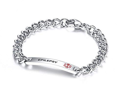 XUANPAI Epilepsy Bracelet - Medical Alert ID Link Bracelets Stainless Steel High Polished Identification Cuff Pre-Engraved Condition Emergency Jewellery for Men Women,20.5cm
