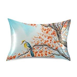 Naivey Satin Pillowcase for Hair and Skin Art Hummingbird Poppy Flower Silk Pillowcase No Zipper Slip Pillowcase Silk Standard Size Pillow Cases Pillowcases 20x26in