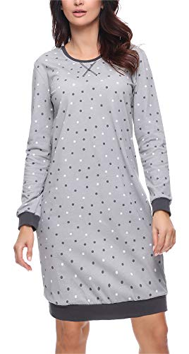 Merry Style Damen Nachthemd MS10-180 (Dunkelgrau, M)
