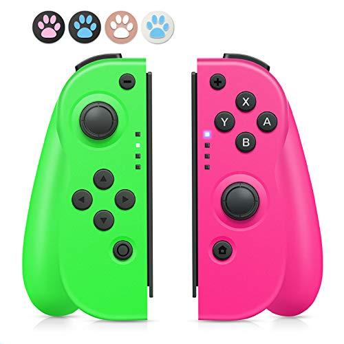 Controller switch wireless, sostituzione controller bluetooth wireless Joy Con Switch tabellone di gioco joystick sinistro e destro joystick giroscopio a doppia vibrazione a 6 assi (rosa e verde)