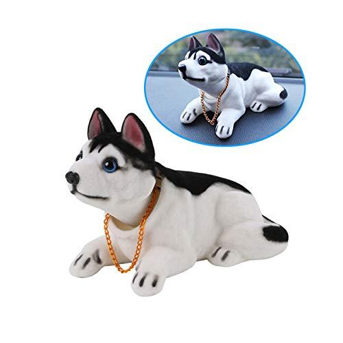 A48 KFZ Auto Dekoration Bobbing Leiter Hund Husky geformt Wackelhund Halskette, Passend für Autos, Büro oder Wohnzimmer, Gewicht: 105g, Farbe Schwarz-Weiß