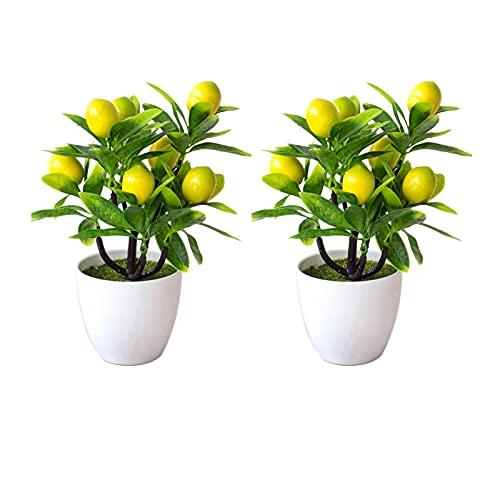 Atroy Artificial Lemon Tree Plant Decor Fake Green Pot Plants Flowers Ornaments Mini Potted Lemon Tree Fake Lemon Fruit Stems Decor in Pot for Home Office Decorations