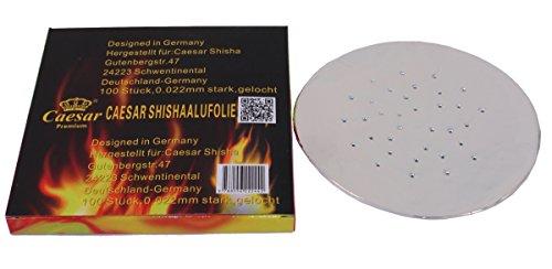 Caesar Shisha Aluminium Folie - 100 Blatt - gelocht (perforiert) | Für Wasserpfeifen