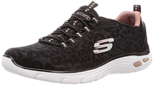 Skechers Women's Empire D'LUX-Spotted Sneaker, Black/Rose/Gold, 8 M US