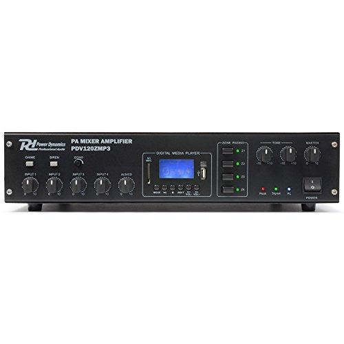 Power Dynamics PDV120Z MP3 4-Kanal PA-Verstärker Karaoke Endstufe (120W RMS, USB-SD-Slot, UKW-MW-Radio-Tuner, 2-Band Equalizer, Echo-Effekt, XLR- und Klinke Mikrofon-Eingänge) schwarz