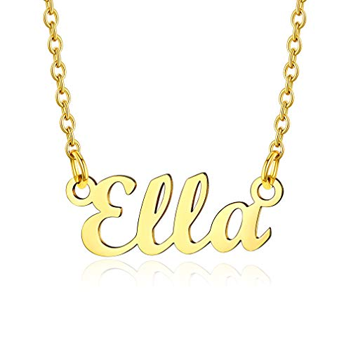 Custom4U Namenskette in Carrie Stil aus Edelstahl Damen Halskette mit Namen Ella 18K Vergoldet Design Namenskette 45cm+5cm für Freundin, Mutter, Schwester