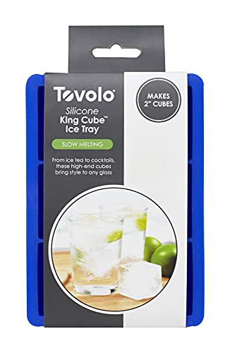 Tovolo Inch Large King Craft Ice Cube Tray For Freezer, Whiskey, Bourbon, Spirits & Liquor Drinks, BPA-Free Silicone, Tray of...