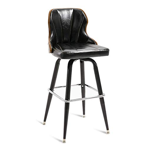 Daily Equipment Chaise Black Counter Height Bar Stools with Solid Wood Back Pu Leather Bar Counter Stools Modern Pub Kitchen High Dining Chairs with Metal Base Dining Room Furniture 350 Lbs Capacit