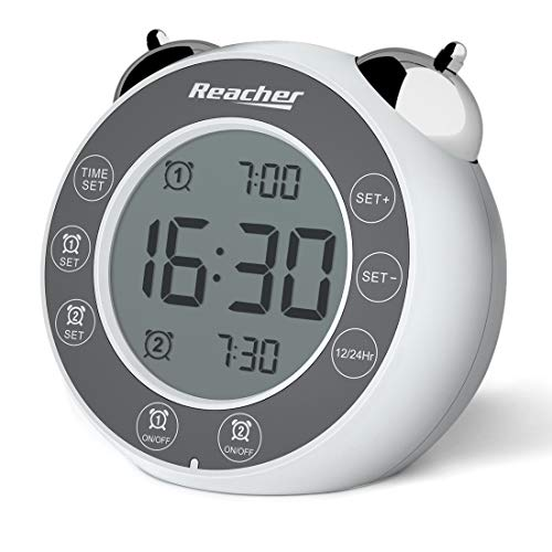 REACHER doppelglockiger Wecker mit zweifachem Alarm - Lauter Wecker mit Snooze-Funktion, Hintergrundbeleuchtung, Einfache batteriebetriebene Uhr für Nachttisch und Schlafzimmer (Weiß)