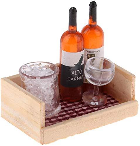 TXXM Mini Juego con Alimentos Escena Modelo Mini Fruit Vino de la Caja (3 Piezas)