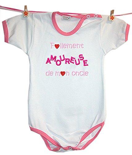 Zigozago - Body Bèbè à Manches Courtes pour bébé avec Broderie FOLLEMENT Amoureuse DE Mon Oncle Taille: 18-24 Mois - Couleur: Rose