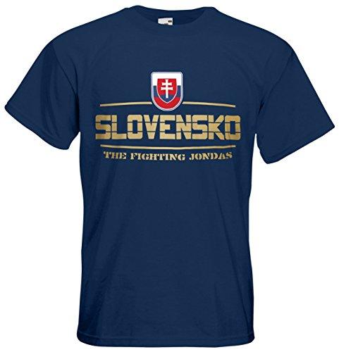 Slowakei Slovensko T-Shirt Fanshirt Nation EM-2021 Navyblau XL