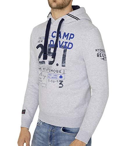 Camp David Hoodie mit Print und plakativem Logo White Melange XL