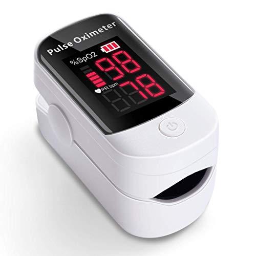 Oximetro, AFAC Pulsioximetro de Dedo Profesional, Prueba para SpO2 PR, Pantalla Grande LED con Funcion de Alarma, Aplica para Adultos y Niños, Pilas Incluida ⭐
