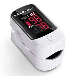 Oximetro, AFAC Pulsioximetro de Dedo Profesional, Prueba para SpO2 PR, Pantalla Grande LED con Funcion de Alarma, Aplica para Adultos y Niños, Pilas Incluida