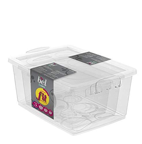 Conjunto de 3 Organizadores Plásticos, Linha bel, 600 ml, 1.5L e 4L, Cor Cristal, Ordene