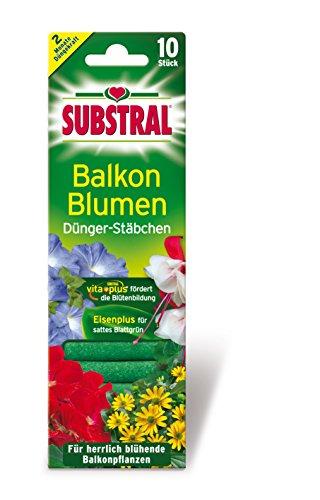 Substral Dünger-Stäbchen für Balkonpflanzen mit Eisen-Plus und 2 Monate Langzeitwirkung, 10 Stück