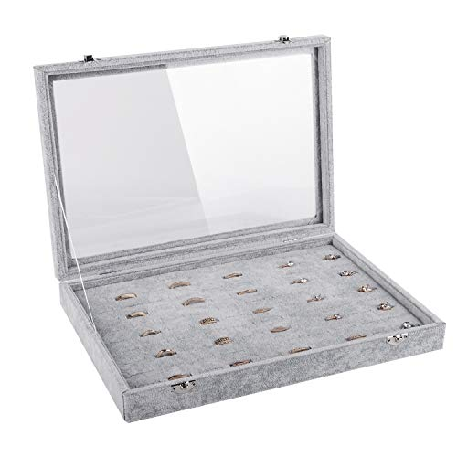 Emibele Jewelry Tray, Clear Lid 100 Slots Ring Earrings Organizer Storage Box Display Case, Soft Velvet Jewelry Showcase Display Tray - Grey