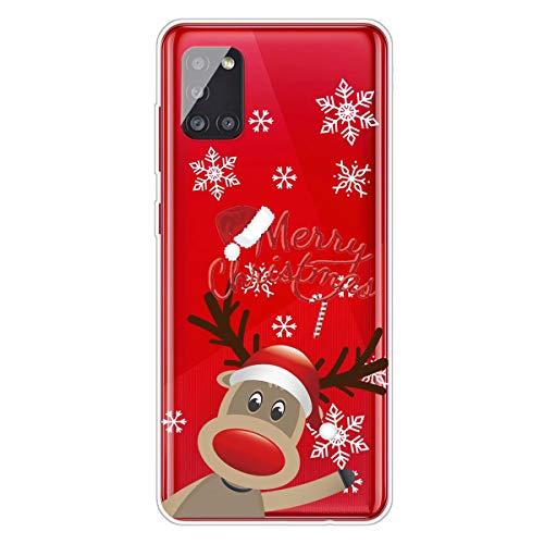 MUTOUREN Custodia natalizia per Samsung Galaxy A51 (4G) in Silicone TPU Trasparenti Ultra Sottile Antigraffio Protettivo Cover con Pellicola Proteggi
