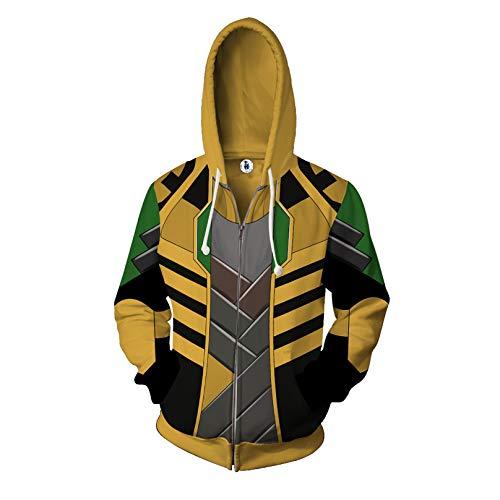 MODRYER Avengers Zipper Sweatshirt Loki Thor 3D Digital Printing Hooded Pullover Hoodie Drawstring Jacket Cosplay Coat for Christmas Halloween,S
