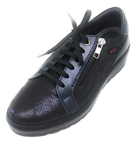 NOTTON Mod 2829 Sneaker Zeppa Lacci e Zip Super Flex Color Azul (36 EU)
