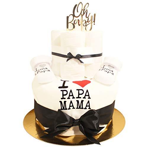 Pandawal Windeltorte Geschenk zur Geburt Junge oder Mädchen Neutral Schwarz/Weiß mit süßen Söckchen und Lätzchen mit Spruch (I LOVE PAPA MAMA) Gold