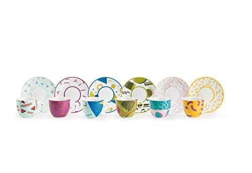 Excelsa Radical Set 6 Tazzine da caffè con Piattino, Porcellana, Multicolore
