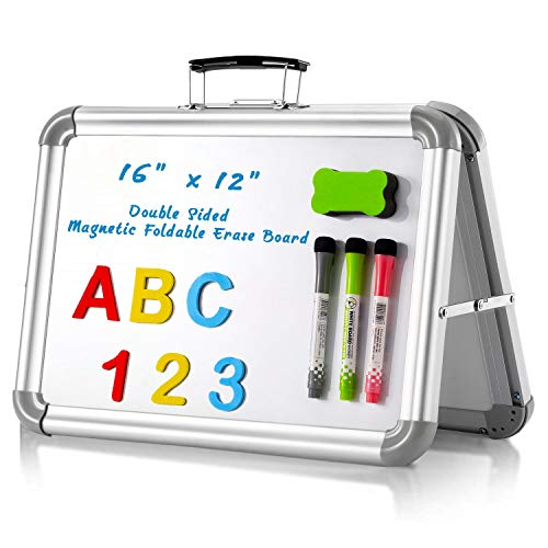 """MerLerner 16"""" x 12"""" Small Magnetic Dry Erase White Board Foldable Portable Dual-Sided Desktop Whiteboard Easel with Handle for Office,Home,School"""