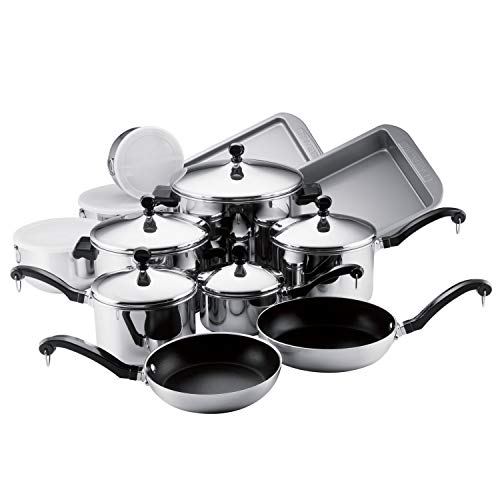 Farberware Classic Stainless Steel Cookware Pots and Pans Set, 17-Piece