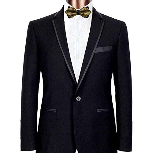 Mens Pre-tied Tuxedo Sharp Bow Ties (Gold Paisley)
