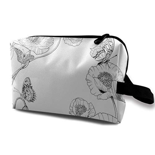 Flutterbys and Poppies Large_6173 Bolsa de Aseo Bolsa de cosméticos Bolsa de Maquillaje portátil Bolsa de Viaje Organizador Colgante para Mujer Chica 10x5x6.2 Pulgadas
