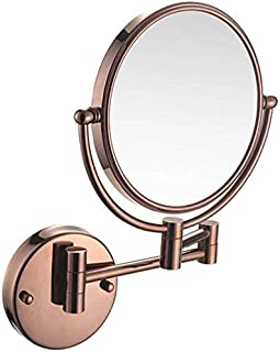 Makeup Vanity Mirror, Two-Sided Wall Mounted Beauty Mirror Multiple Magnification Bathroom Mirror 360° Swivel Extendable Cosmetic Mirror 8inch,Rose Gold_10x,Bathroom