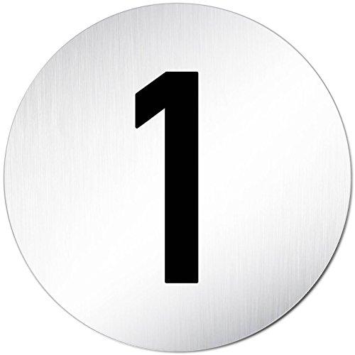 """XXL Türschild • """"1"""" • Ziffern - Zahlen Schild - Türnummer • Ø 100mm • Aluminium (eloxiert) • Türschild Hinweisschild • Schild"""