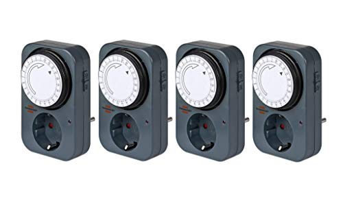 Brennenstuhl Zeitschaltuhr MZ 20, mechanische Timer-Steckdose (Tages-Zeitschaltuhr mit erhöhtem Berührungsschutz) grau (4)