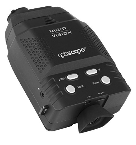 Premium Night Vision Monocular By OPTISCOPE - 328ft/100m Infrared Illuminator Range - 3x Magnification - Ideal For Surveillance & Observation - Easy Image & Video Capture - 4GB microSD - Black