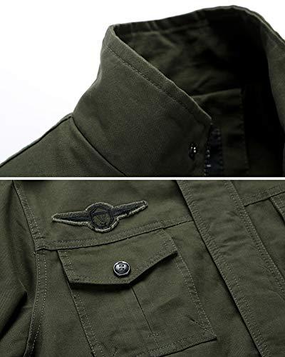 LaoZanA Chaqueta Militar Hombre Otoño Casual Abrigo Bomber Cazadora Slim Fit Verde del ejército M