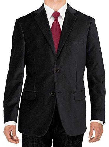 Luciano Natazzi Men's Two Button Velvet Suit Jacket Working Buttonholes Blazer (46 Regular US / 56R EU, Black)