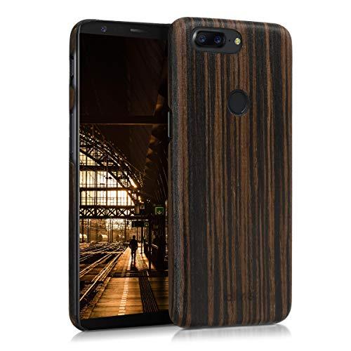 kalibri Schutzhülle kompatibel mit OnePlus 5T - Hülle Handy Holz - Slim Hülle Handyhülle Dunkelbraun