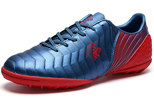 SaekekeFussballschuhe Kinder FG/TF Fußballschuhe Jungen Low Top Trainingsschuhe Für Unisex-Kinder, Blau  Rot Tf, 40 EU