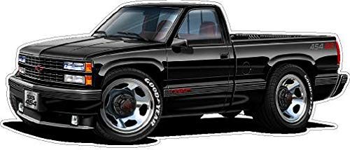SS 454 C1500 1990 Pickup Truck Wall Decal 2ft Long Graphic Sticker Photo Man Cave Garage Boys Bedroom Decor