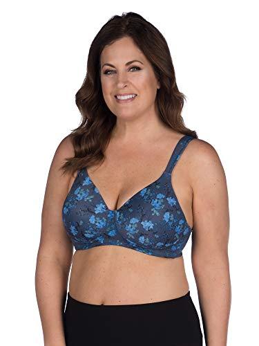 LEADING LADY Women's Plus-Size Underwire Padded T-Shirt Bra, Blue Floral, 52A