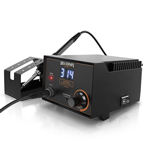 Brandson - Lötkolben Set digital - Lötstation 75 W - Profi Station – Temperaturregelung 200°C-480°C - LED Präzisions-Temperaturanzeige – keramisches Heizelement - Kalibrierung – Lötkolbenablage
