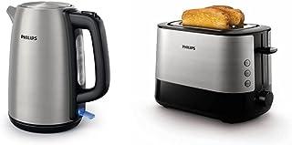 Philips HD9351/90 Bouilloire en métal, 2200W, 1,7L, couvercle articulé & HD2637/90 Grille-Pain avec Fente large Métal/noir...